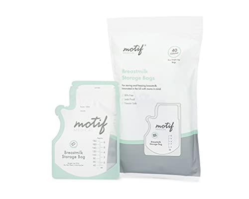 Motif Medical, Milk Storage Bags, 8 oz Milk Freezer Bag with Easy Pour Spout, BPA Free, Write-On Label - 40 Count