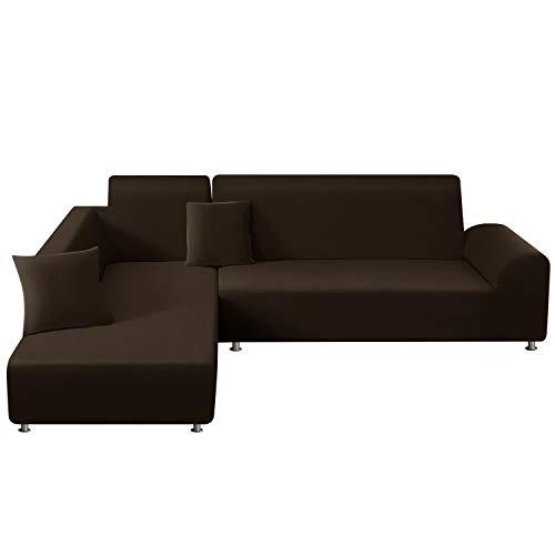 TAOCOCO Copridivano con Penisola Elasticizzato Chaise Longue Sofa Cover Componibile in Poliestere a Forma di L (Marrone, 3 Posti+4 Posti)