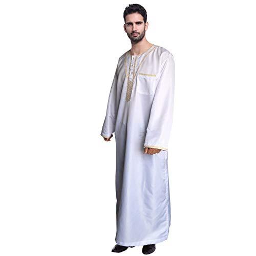 CAOQAO Männer ethnischen Roben Langarm islamischen muslimischen Nahen Osten Maxikleid Kaftan,Übergröße Dubai Party Kleid Loser Normallack Kleidungs Ramadan Kleider Gebet Kleid