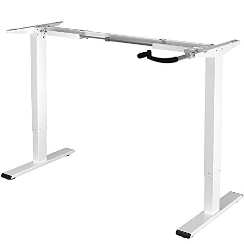 Flexispot H1W Höhenverstellbarer Schreibtisch Kurbelverstellbares Tischgestell, Passt für Alle Gängigen Tischplatten (Weiß, Maximale Belastung: 70 KG.)