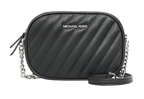 Michael Kors MK Women's Bag Small Oval Crossbody Twill Sheepskin Camera Bag (Black/Silver Hardware)