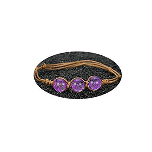 Youkeshan Pulseras y brazaletes de flores secas para mujer y mujer, pulsera de bola de cristal ajustable
