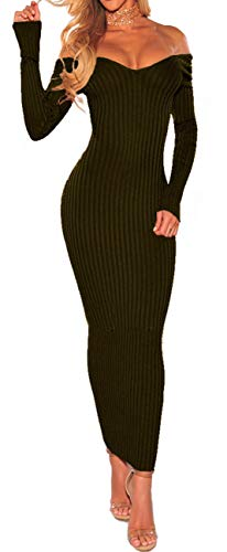 PerZeal Women's Casual Sexy Bodycon Off Shoulder Long Sleeve Knit Slim Fit Sweater Midi Dress Army Green