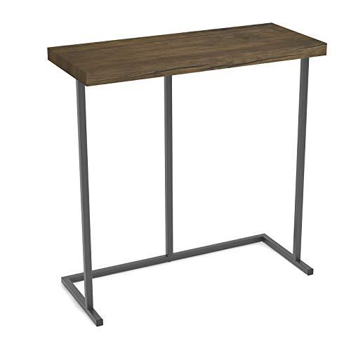 Kiimeey Narrow Slim End Table Living Room Side Table Metal Industrail Rustic Coner End Table L24 (Caramel)