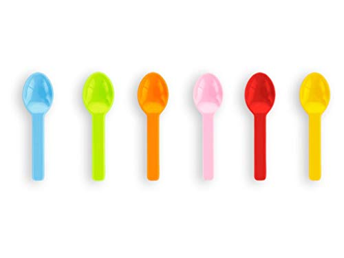 Vegware 3 inch Tutti Frutti Ice Cream Spoons Made From Compostable PLA - 50 Pack