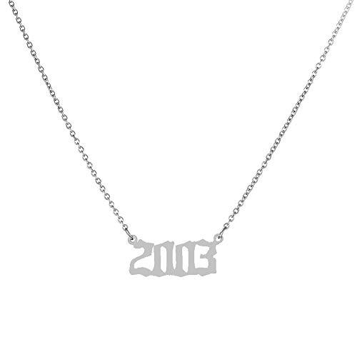 BASTE Jahr Nummer Anhänger Halskette Von 1980 Bis 2019,Edelstahl Kettenhalsband 2003 Silber Farbe