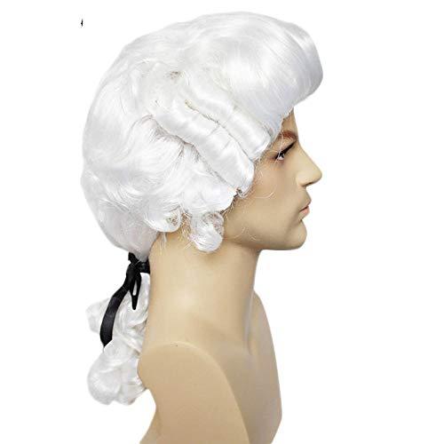 Peluca blanca de juez de abogado barroco rizado masculino Colonial Deluxe disfraz histórico peluca sintética de Cosplay para Halloween Cosplay