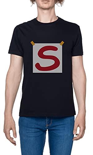 Super S Camiseta para Hombre Negro De Manga Corta Ligera