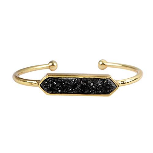 ZENGORI 1 Pcs Gold Plated Titanium Black Hexagon Drusy Bangle Bezel Setting ZG0317-black