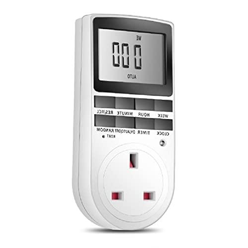 Enchufe temporizador electrónico digital con temporizador de 24 horas/7 días, con pantalla LCD, protección antirrobo programable, enchufe digital al azar
