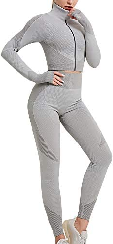 Women s Workout Set 3 Piece Tracksuit Seamless Sports Bra with Yoga Leggings with Zipper Crop product image