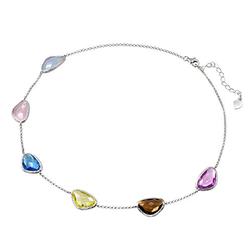 Franki Baker Dainty Colourful Crystal Gems on 925 Sterling Silver Choker Necklace. Length: 35cm+5cm extension chain