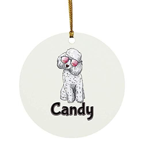Weezag Candy Poodle Dog Christmas Ornaments Tree Decor Decorations, Custom Personalized with Your Name Xmas Ornament Dog Lover Gifts for Pet Owner, 9323