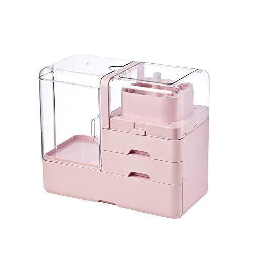 Caztcsb Kosmetische Aufbewahrungsbox,Multi-Funktion Transparente Portable Kosmetikkoffer,Große Skin Care Product Finishing Kosmetikkoffer,Staubdicht Kosmetische Aufbewahrungsbox,Rosa