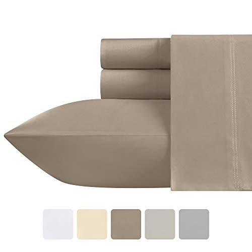 California Design Den Premium Tan Queen Sheet Set - 500 Thread Count Extra Long Staple Cotton, Soft Sateen Weave 4 Piece Bedding Set, Elasticized Deep Pocket Fits Low Profile Foam and Tall Mattresses