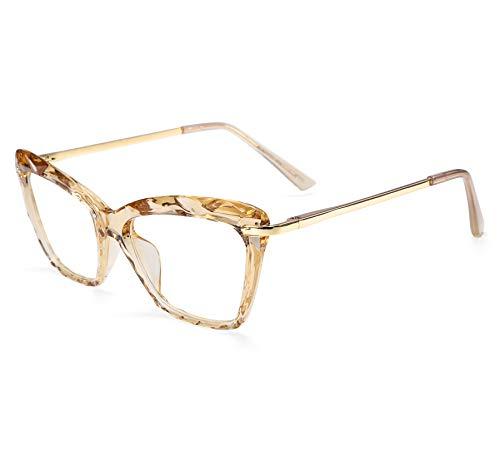 FEISEDY Cat Eye Brille Rahmen Kristall Nicht verschreibungspflichtige Brillen Frauen B2440