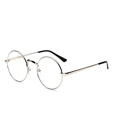 VWH Unisex Glasses Frame Round Retro Metal Multicolor Clear Lens Glasses silver