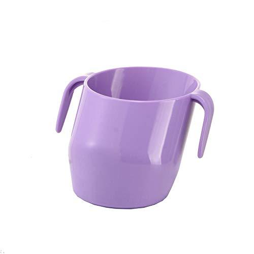 Taza de boca oblicua para bebés, ayuda para el entrenamiento de la taza para bebés 2 asas de pendiente única para que los niños puedan beber fácilmente agua-lavanda