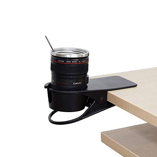 Drinking Cup Holder Clip,Desk Cup Holder,Table Edge Clamp Cup Holder,Place Water Glass, Coffee Mug, Beverage, Cell Phone.Best Office Accessories.