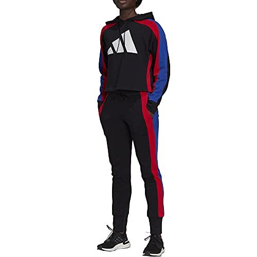 adidas W TS Big Logo Tracksuit, Black Vivid Red Bold Blue, XS Women s