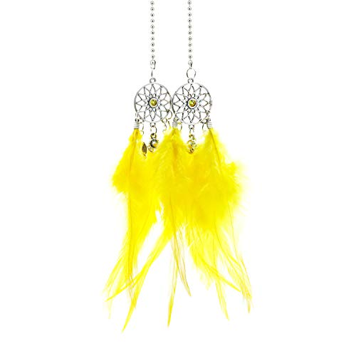 YGMONER Mini Dream Catcher Car Interior Rearview Mirror Hanging Decor Nature Feather Small Boho Car Charms Pendant Accessories (Yellow)
