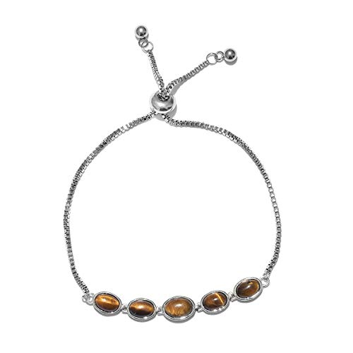 "Price comparison product image Shop LC Delivering Joy Tigers Eye 925 Sterling Silver Line Tennis Bracelet for Women Size 9.5"" Adjustable Costume Jewelry Gift"