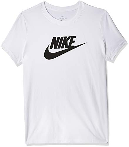 Nike Damen W NSW Tee ESSNTL ICON Futura T-Shirt, White/(Black), L