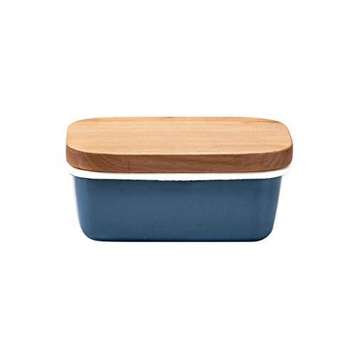 Recipiente para mantequilla Mantequera, esmalte mantequilla Recipiente con tapa de madera, plaza de mantequilla Plato de Pasta Plato del condimento de la cocina Vajilla Suministros Mantequera con tapa
