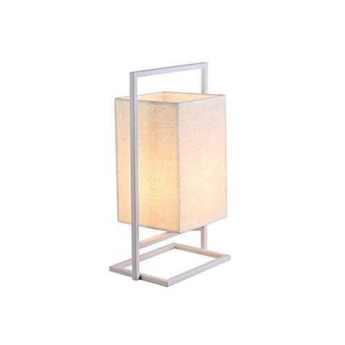 alyf lámpara de Escritorio Lámpara de Mesa, luz Lateral, Marco de Hierro, lámpara de Mesa de Noche, lámpara de Mesa de Noche, Sala de Estar, el Dormitorio o la Oficina lámparas (Color : White)