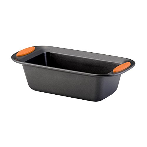 Rachael Ray Yum-o! Bakeware Oven Lovin' Nonstick Loaf Pan, 9-Inch by 5-Inch Steel Pan, Gray with Orange Handles