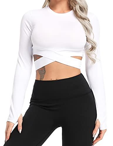 Tops Yoga Camiseta Deportiva Corte Destacada Mangas Larga Aptitud Mujer #1 Blanco S