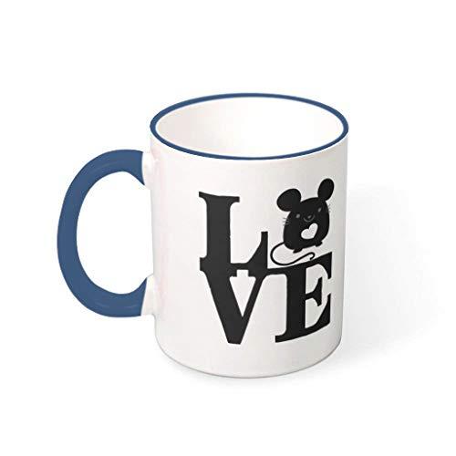 STELULI Taza de café para hámster de cerámica duradera retro linda – taza de agua para mascotas se adapta a Lounge azul medianoche 330