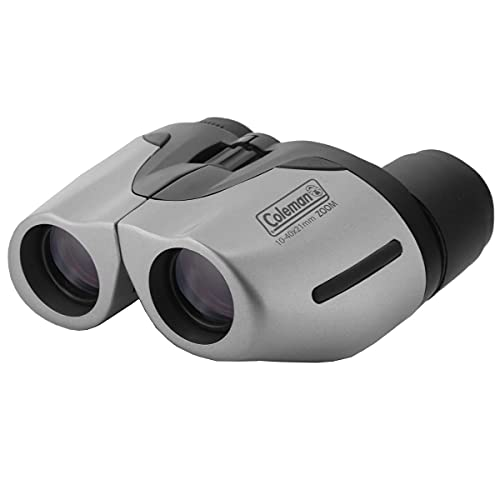 Coleman 10-40x21 Compact Weather Resistant Porro Prism Zoom Binocular with 2.0 - 0.9 Degree Angle of View, Gray