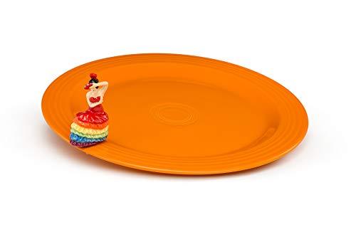 Fiesta Nora Fleming Round Butterscotch Platter with fiesta dancing lady mini -  Fiestaware/ Nora Fleming