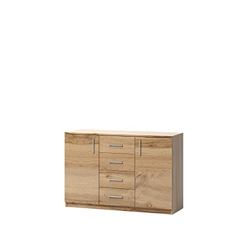 La cassettiera Alicja classica e spaziosa con 4 cassetti e due armadi in rovere wotan è ideale per una camera da letto, stanza, bagno 120 cm
