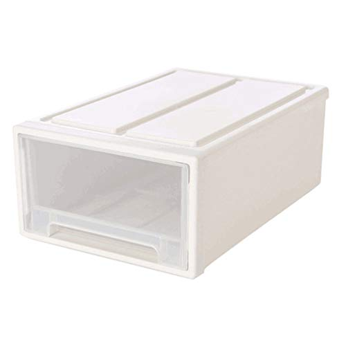 Yardwe White Transparent Shoe Boxes Stackable Shoe Drawer Case Clear Space Saving Shoe Rack Holder Multipurpose Storage Clothes Bed Sheets Boxes Organizer 37x25x14CM