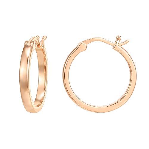PAVOI 14K Rose Gold Plated 925 Sterling Silver Post Lightweight Hoops | 20mm | 20mm | Rose Gold Hoop Earrings for Women