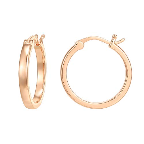 PAVOI 14K Rose Gold Plated 925 Sterling Silver Post Lightweight Hoops | Rose Gold Hoop Earrings for Women