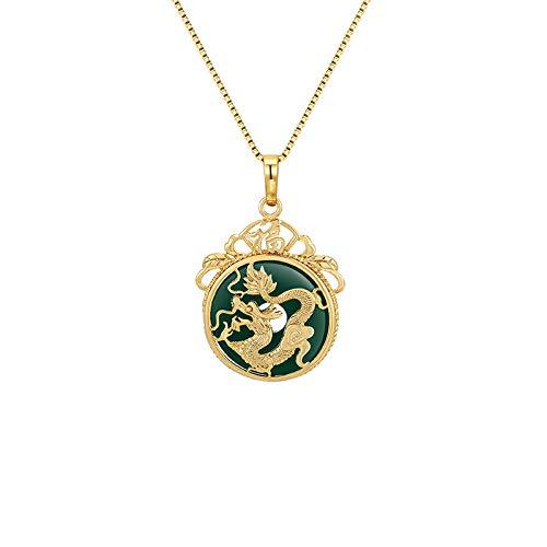 Joyas Collar De Dragón De Jade Malayo Collar Simple Chapado En Oro De 24 K Hombre