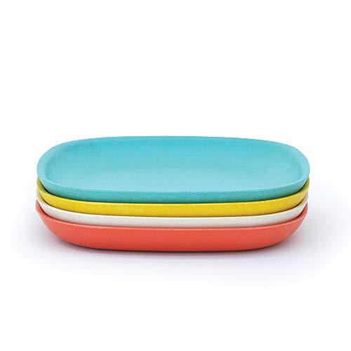 BIOBU by EKOBO - 34772–Jouet Gusto Petit Set 2 Assiettes Plates 23 x 23 x 2,5 cm Persimmon/Blanc/Bleu Lagon/Jaune Citron