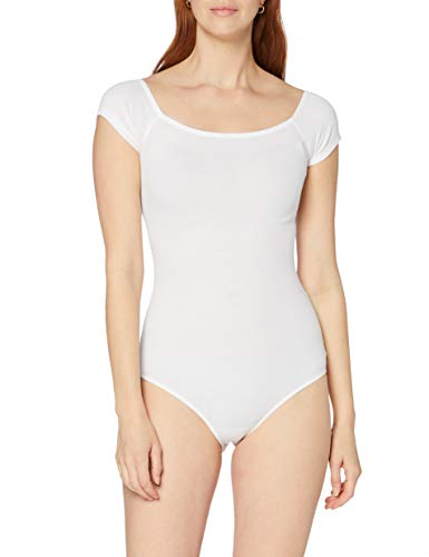 Marchio Amazon - MERAKI Body in Cotone Donna, Bianco (White), S, Label: S
