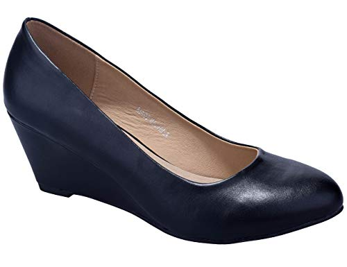 Greatonu Schwarz PU Keilpumps Plateau Damen Pumps Keilabsatz Mary Jane Party Schuhe Größe 38 EU