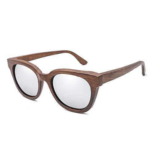 Yeeseu Gafas de sol de los vidrios de madera de bambú gafas de sol de madera de bambú color de la película Todas las gafas de sol polarizadas for hombres y mujeres gafas de moda (Color: azul E, Tamaño