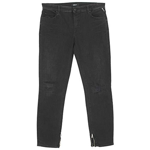 Replay, Cherilyn, 7/8 Damen Jeans Hose, Stretchdenim, Black Destroyed, W 32 L 28 [21759]
