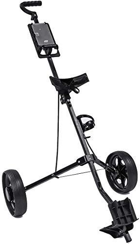 XBSLJ Golftrolley Zieh-Golfcarts Golfwagen Wagen verstellbar 2 Räder Golf Caddy Aluminiumlegierung Faltbarer Wagen mit Bremse