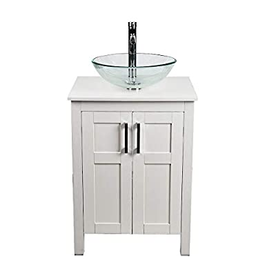 24 Inch Bathroom Vanity and Sink Combo White Modern MDF Board Countertop Vessel Sink with Water Saving 1.5 GPM Faucet and Pop-up Darin Bathroom Cabinet (No Mirror Vanity+#61)