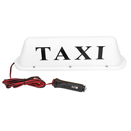 Luz de taxi, Amarillo, Carcasa blanca Letrero de taxi magnético LED Lámpara de luz súper brillante en la azotea del automóvil, Lámpara de taxi con encendedor(Estuche blanco (No de artículo: D010B))