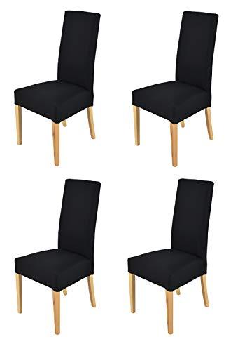 Tommychairs - Set 4 sillas Chiara para Cocina, Comedor, Bar y Restaurante, solida Estructura en Madera de Haya Color Natural y Asiento tapizado en Tejido Color Negro