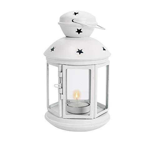 Nicola Spring Laterne mit Teelichthalter zum Aufhängen - Metall - Vintage-Optik - für drinnen & draußen - Weiß - 20 cm