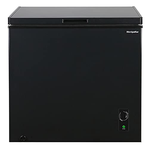 198ltr Chest Freezer in Black with Built in Hinges, F Rated and 1 x Freezer Basket - Freezer to Fridge Conversion